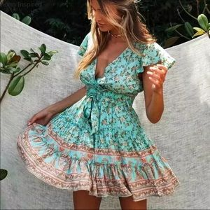 Dresses & Skirts - BOHEMIAN FLORAL PRINT RUFFLE DRESS IN TEAL